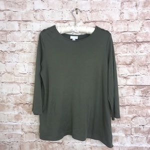 J Jill Olive Green 3/4 Sleeve Cotton Blend Top
